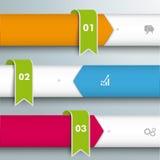 Infographic 3 líneas banderas verdes de las flechas Imagen de archivo libre de regalías