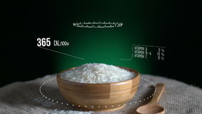 Infographic of Long Grain Rice with vitamins, microelements minerals. Energy, calorie and component stock video