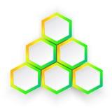 infographic luminoso, piramide con sei poligoni Immagini Stock