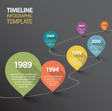 Infographic mörk Timelinemall med pekare royaltyfri illustrationer
