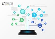 Infographic mall affärsidéen 3d isolerade nätverkswhite vektor Arkivfoton
