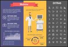 Infographic mall, beståndsdelar och symboler för medicin stock illustrationer