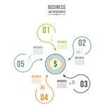 Infographic mall Datavisualization Kan användas för workfloworienteringen, nummer av alternativ, moment, diagrammet, graf Arkivbilder