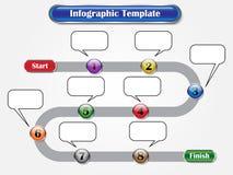 Infographic mall - följdknappar som milstolpe stock illustrationer