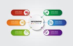 Infographic mall för affär med 6 alternativ, affärsdata Fotografering för Bildbyråer