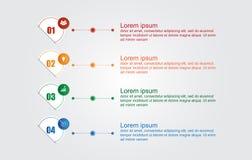Infographic mall för affär med 4 alternativ, affärsdata Royaltyfri Bild