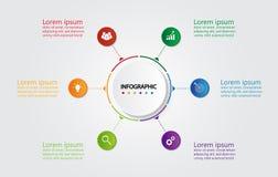 Infographic mall för affär med 6 alternativ, affärsdata royaltyfri fotografi