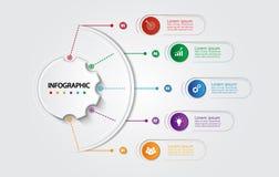 Infographic mall för affär med 5 alternativ, affärsdata Royaltyfri Bild