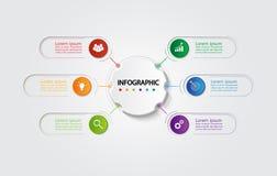 Infographic mall för affär med 6 alternativ, affärsdata Arkivfoto