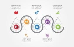 Infographic mall för affär med 5 alternativ, affärsdata royaltyfri foto