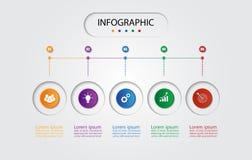 Infographic mall för affär med 5 alternativ, affärsdata Royaltyfria Bilder