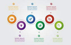 Infographic mall för affär med 6 alternativ, affärsdata royaltyfria bilder