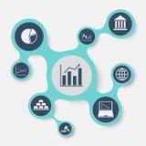 Infographic mall för aktiemarknad med förbindelsemetaballs Royaltyfri Bild
