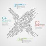 Infographic mall för datateknikvektor med strömkretsbrädet och alternativ Elektroniskt tekniskt avancerat begrepp royaltyfri illustrationer