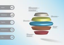 infographic mall för illustration 3D med den runda sexhörningen som delas horisontellt till fem färgskivor Arkivbilder