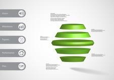 infographic mall för illustration 3D med den runda sexhörningen som delas horisontellt till fem gröna skivor Arkivfoto