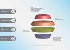 infographic mall för illustration 3D med den runda sexhörningen som delas horisontellt till fyra färgskivor Royaltyfri Fotografi