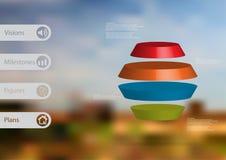 infographic mall för illustration 3D med den runda sexhörningen som delas horisontellt till fyra färgskivor Fotografering för Bildbyråer