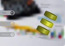 infographic mall för illustration 3D med ordnad cylinder tre snett Arkivfoto