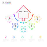 Infographic mall för lyckat affärsidépilpussel Infographics med symboler och beståndsdelar royaltyfri illustrationer