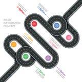 Infographic mall för navigeringvektoröversikt Slingrig väg stock illustrationer