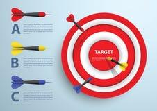 Infographic mall för pil och för mål, affärsidé Arkivfoto