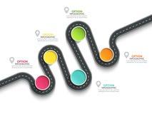 Infographic mall för slingrig väg med en gradvis struktur Arkivfoto