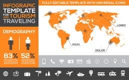 Infographic mall för turism-, resande- och ferietransport Arkivbild