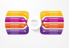 Infographic mall för vektor för diagram, graf, presentation och diagram Affärsidéen med 8 alternativ, särar, kliver eller process vektor illustrationer