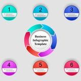 Infographic mall för vektor med 6 alternativ för presentationen, diagram, affärsidé Royaltyfria Bilder