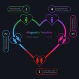 Infographic mall för vektor med hjärta Arkivbild