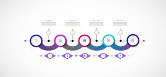 Infographic mall för vektor med moment för nummer 5 Royaltyfria Bilder