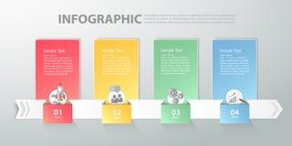 Infographic mall kan användas för workflowen, orienteringen, diagram Royaltyfri Bild