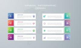 Infographic mall med 8 alternativ royaltyfri illustrationer