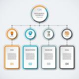 Infographic mall med 4 alternativcirklar och kolonner royaltyfri illustrationer