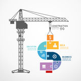Infographic mall med banret för figursåg för konstruktionstornkran Arkivbild