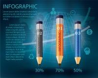 Infographic mall med blyertspennan Royaltyfri Fotografi