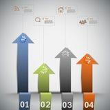 Infographic mall med färgpilar Fotografering för Bildbyråer