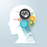 Infographic mall med huvudpappersbanret begreppsvektor royaltyfri illustrationer