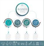 Infographic mall med pappersetiketten för cirklar 3D Royaltyfria Foton