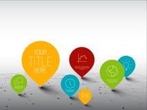 Infographic mall med pekare på ett stort nätverk stock illustrationer