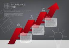 Infographic mall med tre moment och den röda pilen Royaltyfri Foto