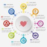 Infographic mall med valentinsymboler Royaltyfri Fotografi