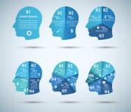 infographic mall- och marknadsföringssymboler för design 3D Head symbol Vektor Illustrationer