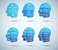 infographic mall- och marknadsföringssymboler för design 3D Head symbol Royaltyfri Illustrationer