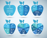 infographic mall- och marknadsföringssymboler för design 3D Apple symbol Arkivbilder