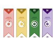 Infographic mallbeståndsdelar med procentsatser för presentation och reportsInfographic vektormall med sex alternativstepsInfog royaltyfri illustrationer