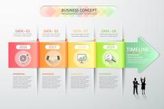 Infographic malplaatje 4 van de ontwerp abstract 3d pijl stappen voor bedrijfsconcept Stock Fotografie