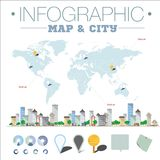 Infographic map and city. stock illustration