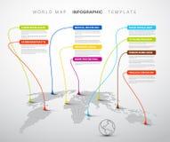 Infographic: Mapa del mundo ligero con las marcas del indicador stock de ilustración